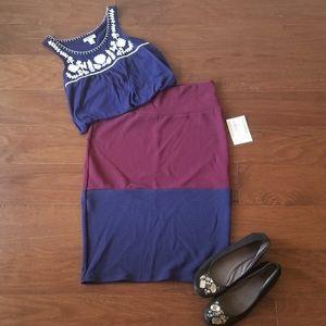 LuLaRoe Color Block Cassie Skirt NWT